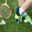 Foot of womwho plays badminton — Stock Photo #29852349