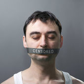 Man with bandage on face — Foto Stock