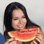 Smiling girl with water-melon — Stock Photo