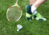 Foot of badminton player — Stock Photo