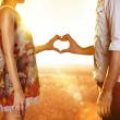 Lovers in sun beams — Stockfoto