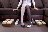 Lady trying on new shoes — Stock Photo