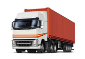 Truck transports container — Stock Photo