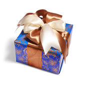 Blue gift with path — Stock Photo