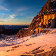 Winter mountain hut — Stock Photo