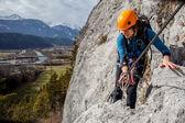 Via ferrata climbing — Stock Photo