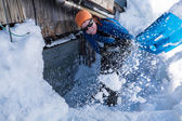 Snow shoveling — Stock Photo