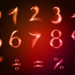 Neon numbers — Stock Vector