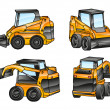 Isolated excavators — Imagen vectorial