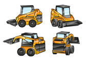 Isolated excavators — Stock Vector
