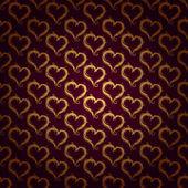Golden hearts pattern — Stock Vector