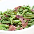 Fried green beans with ham — Foto Stock