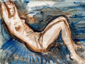 Ležící nahá žena — Stock fotografie