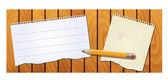 Struttura di legno banner con matita di blocco note — Vettoriale Stock