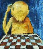 寂しいチェスをする人 — ストック写真