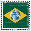Brazil flag like stamp in grunge style — Stock Vector