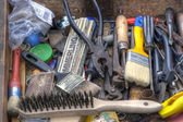Drawer full of old tools — Stock Photo