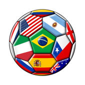 Brazil 2014 - soccer with flags — Stock Photo