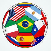 Vector soccer with various flags - Brazil 2014 — Stock Vector