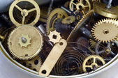 Canned time - parts of clockwork mechanism in the can — Stock Photo