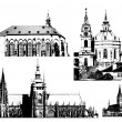 Vector famous landmarks of Prague — Stock Vector
