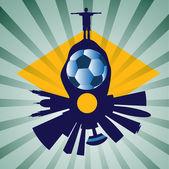 вектор рио skyline с игрок футбола — Cтоковый вектор