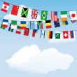 Flags of the world bunting — Stock Vector