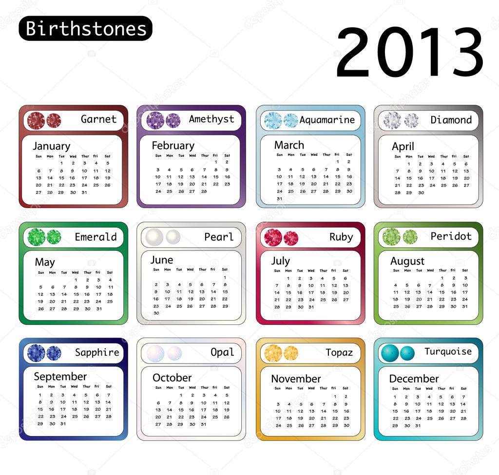 Birtstone calendar 2013 stock illustration