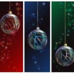 Glazen kerstbal banners — Stockvector
