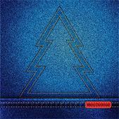 Джинсовая Рождественская елка наброски — Cтоковый вектор