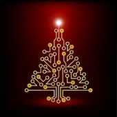 Christmas tree circuit board red — Stock Vector
