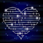 Circuit board heart — Stock Vector