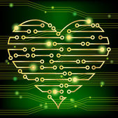 Circuit board heart green — Stock Vector