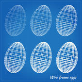 Wire frame eggs — Stock Vector