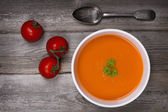 Soup on wood table — Stock Photo