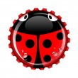 Ladybird bottle cap — Stock Vector