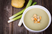 Leek and potato soup vintage — Stock Photo