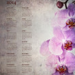 Vintage orchid calendar for 2014 — Stock Photo