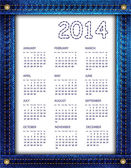Blue denim kalender 2014 — Stockvektor