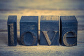 Love in printing blocks — Stock Photo