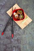 Asain meatballs over slate background — Stock Photo