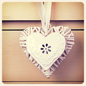Tin and wicker heart retro — Stock Photo