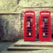 Britsh red phone boxes retro — Stock Photo