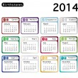Birthstone calendar 2014 — Stock Vector