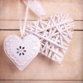 Vintage hearts with texture — Stock Photo