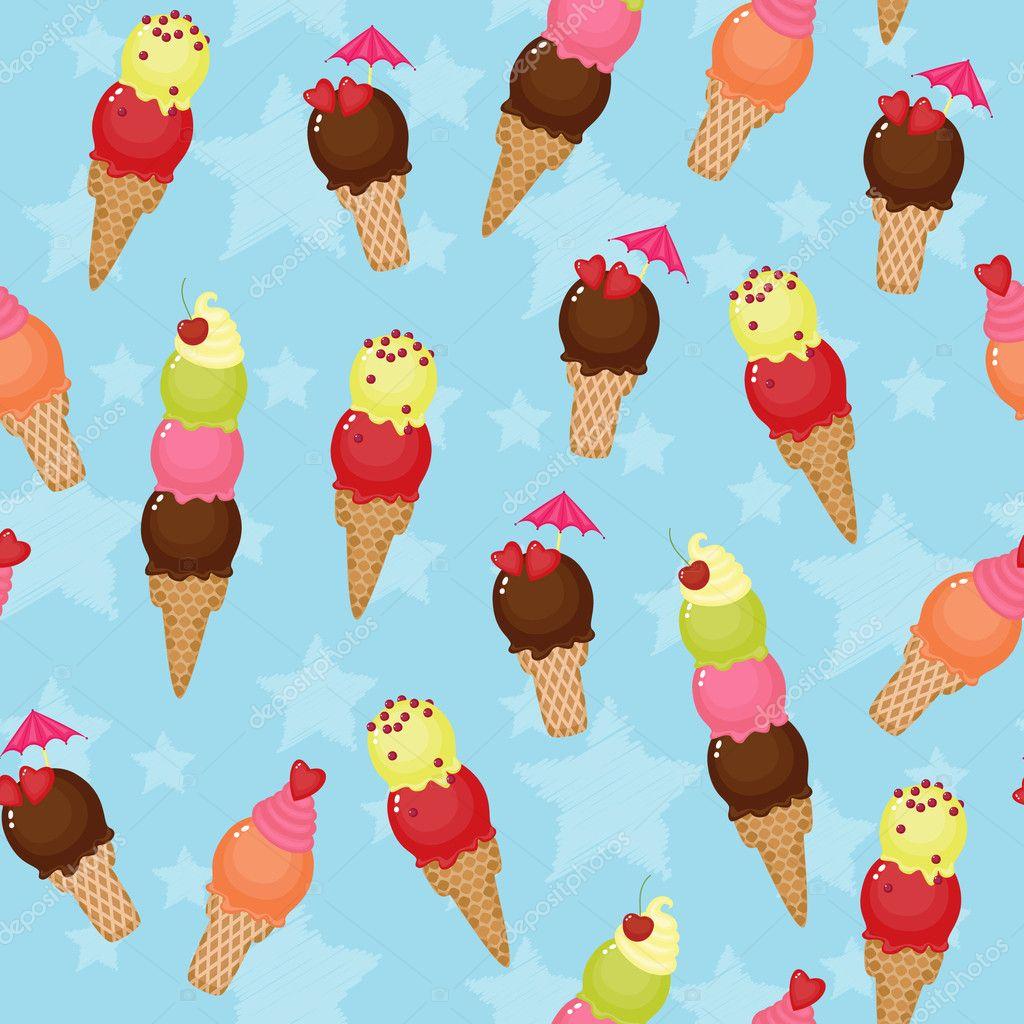 Seamless Ice Cream Background Vintage Style: Stock Vector © Natalie-art