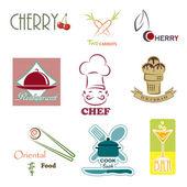 Nine creative vector food signs — Stock Vector