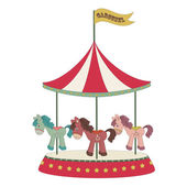 Cartoon merry-go-round — Stock Vector