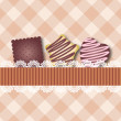 Pink card with cookies - Imagen vectorial