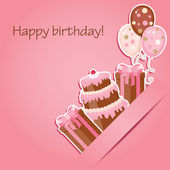 Pink birthday card — Vetor de Stock